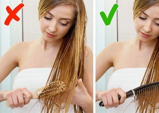 Chải tóc là việc đơn giản nhưng rất dễ mắc sai lầm làm hỏng mái tóc của bạn